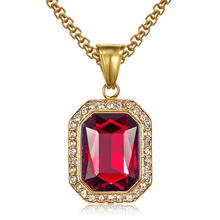 Hip Hop Iced Out CZ Bling Square Necklaces Gold Color Stainless Steel Pendant & Chains For Men Women Jewelry Gift Dropshipping hip hop iced out bling horse head pendants necklaces for men gold color stainless steel round cz necklace jewelry dropshipping