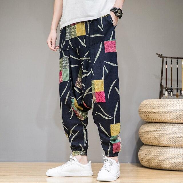 2020 homens verão outono bloomers masculino casual impresso solto algodão harem calças homens grande virilha calças homens hip hop baggy calças 6