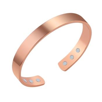 Pulsera magnética de cobre Unisex, pulseras de energía para la salud, brazaletes ajustables retro de cobre puro para mujeres y hombres