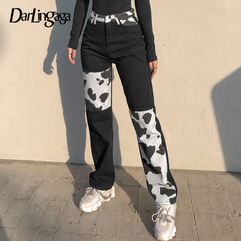 Darlingaga Streetwear Cow Print Y2K Patchwork High Waist Jeans Straight Slim Woman Pants Vintage Trousers Contrast Color Bottom