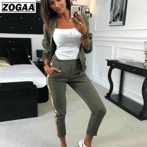 Image 2 - Женский спортивный костюм ZOGAA, повседневный осенний костюм с блестками, верхняя одежда на молнии, комплект из 2 предметов, топ и штаны, сексуальный тренировочный костюм