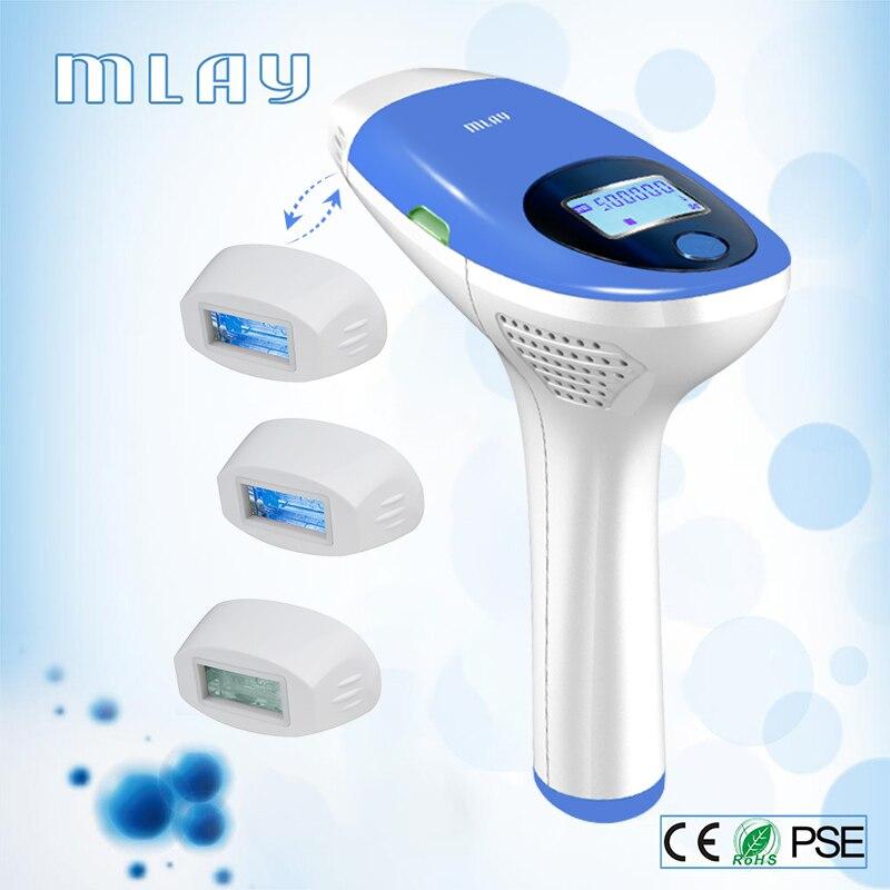 Depilador elétrico da remoção do cabelo do ipl de mlay um laser 500000 pisca a máquina permanente da remoção do cabelo do corpo da cara 3in1