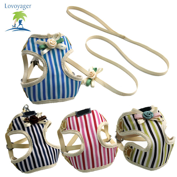 Puppy Hand Holding Rope Vest Style Pet Vertical Stripes Chest And Back Korean Style Chest And Back Set Of Chest And Back With Tr