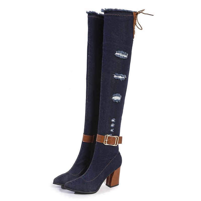 Winter Vrouwen Laarzen Gladiator Elastische Denim Band Hoge Hakken dij hoge Platform Ronde Neus Rits Dames Schoenen Zapatos De Mujer