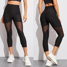 Czarny patchworkowy legginsy z siatką damskie legginsy damskie legginsy damskie spodnie elastyczne Capri legginsy damskie Fitness tanie tanio Połowy łydki STANDARD Suknem 969986 WOMEN Na co dzień Poliester Osób w wieku 18-35 lat