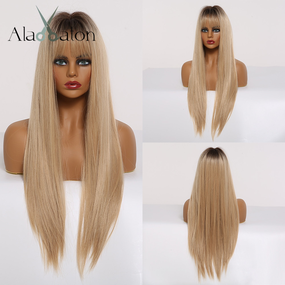 ALAN EATON Synthetic Hair Wigs With Bangs Long Silk Straight Wigs For Women Heat Resistant Ombre Black Brown Golden Cosplay Wigs
