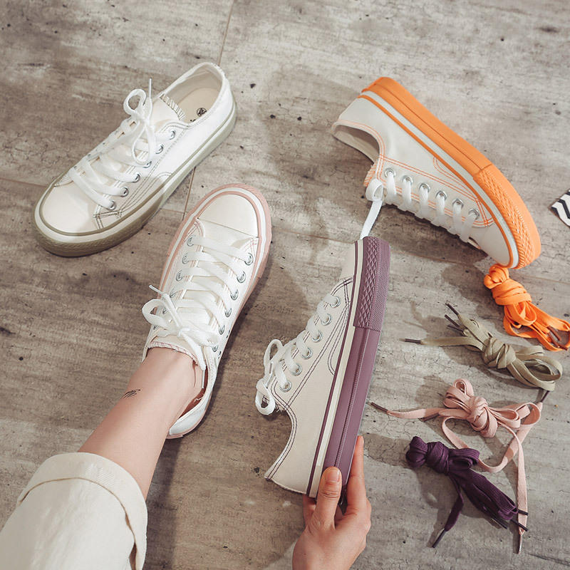 Women Sneakers Flats Shoes Woman Canvas Lace-up Breathable Vulcanize Shoes Casual Shallow Off White Brand Shoes Spring 2020