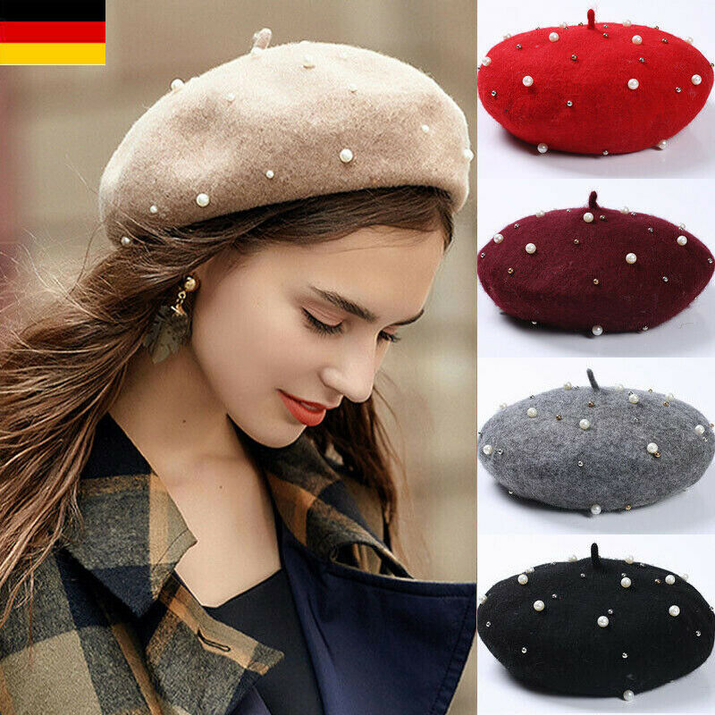 Solid French Beret Winter Pearl Wool Hat Women Sweet Beanie Ski Caps Love Gifts For Girl Friend Caps