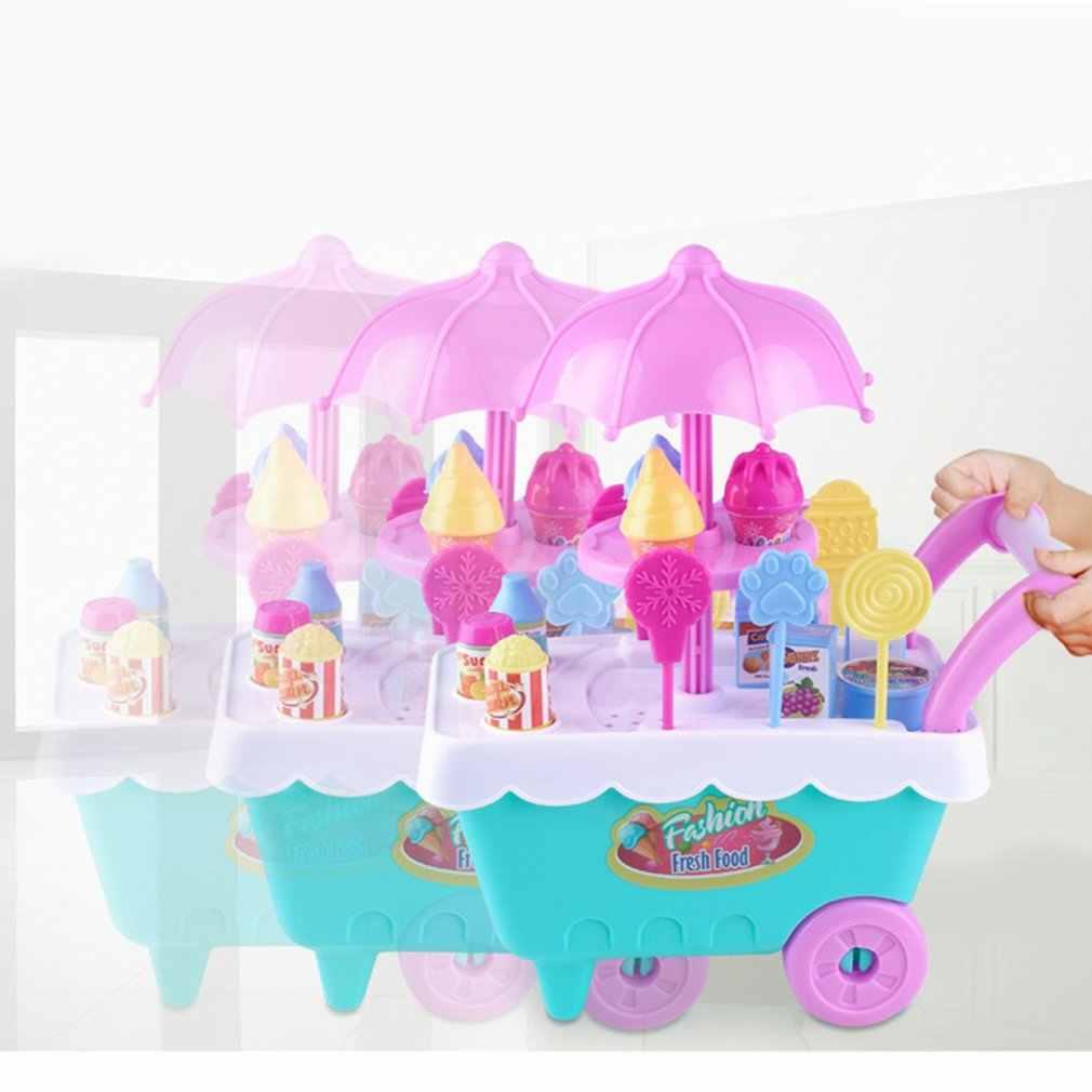 1 قطعة محاكاة الاطفال الحلوى الآيس كريم عربة مجموعات الالعاب الاطفال الفتيات دور اللعب مجموعة التنمية التعليمية الاطفال التظاهر اللعب اللعب