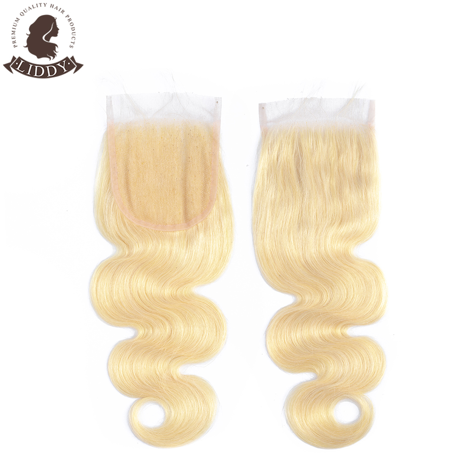 Liddy Body Wave 4x4 Lace Closure 100% Human Hair Closure Brazilian Hair Weaving 613 Blonde Non-remy Hair Lace Frontal Closure