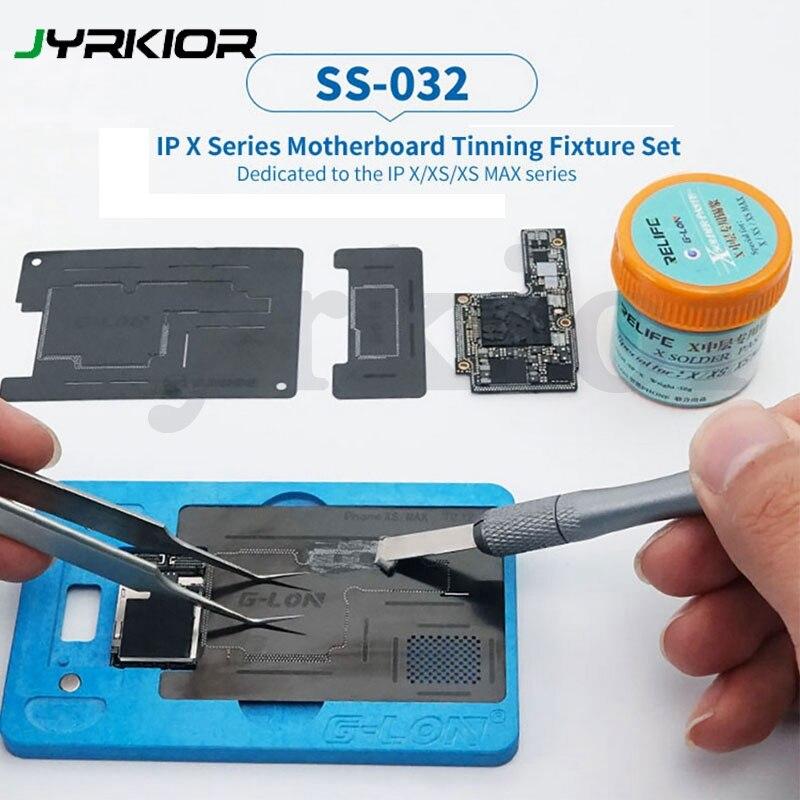 Sunshine & G-Lon Co-Develop Middle Board BGA Reballing Stencil Plant Tin Platform+Solder Paste For IPhone X XS MAX Maintenance