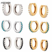 ANDYWEN 925 Sterling Mini Huggies Crystal CZ Hoops Colorful Loops Clips Earring Piercing For Women 2019 Round Circle Jewellry