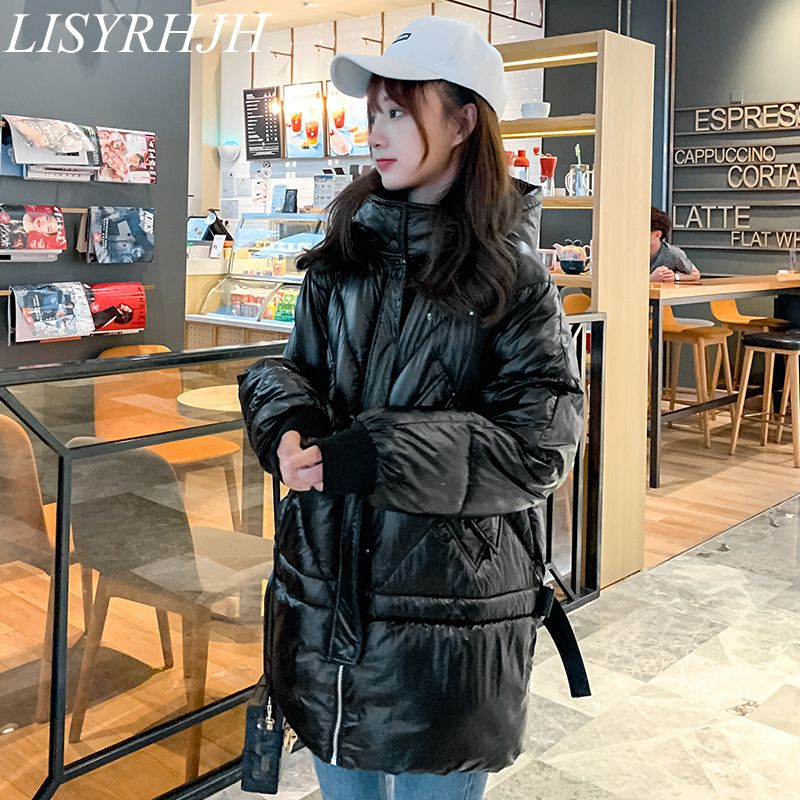 2019 Winter Down Parka Womens Glossy Hooded Jackets Large
