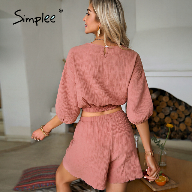 Simplee Pockets elastic waist lace up woman suits  Round neck button decoration summer sets Pure color loose slim suit 6