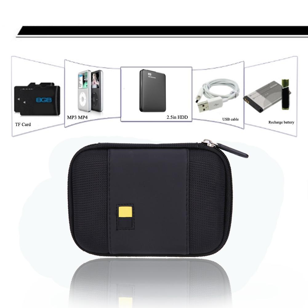 Hard Sailcloth PU Carrying Case Bag For 2.5 Inch External Hard Drive