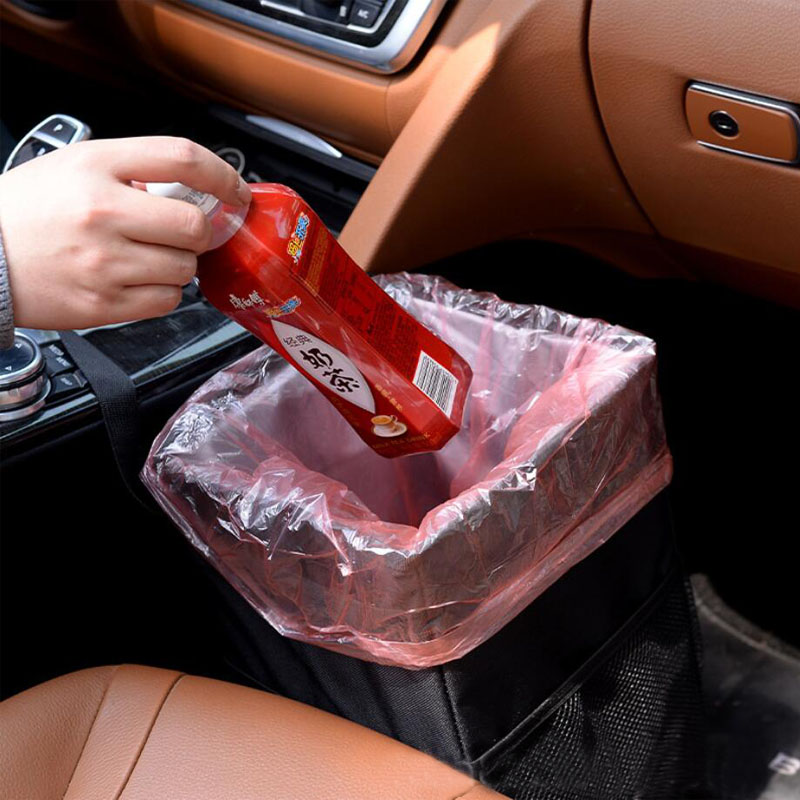 Car Trash Bag Storage Bucket Waterproof Litter Garbage Bag Organizer Capacity Black Dustbin Storage Can 6L Hanging Oxford Cloth