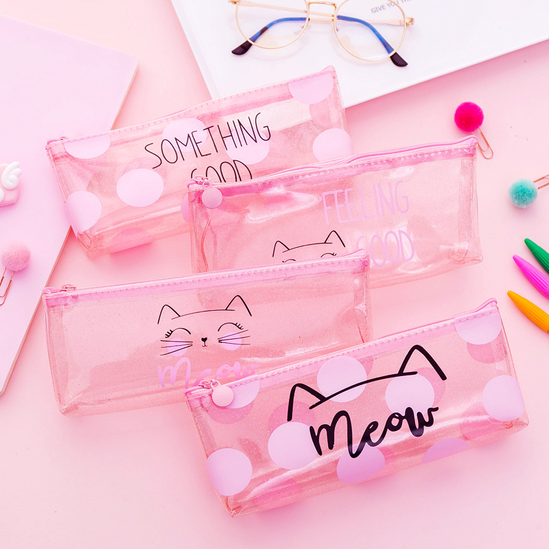 Korea Cute Cat Transparent Cosmetic Bag PVC Women Travel Wash Waterproof Zipper Storage Bag Organizer Makeup Cases Beauty Bags