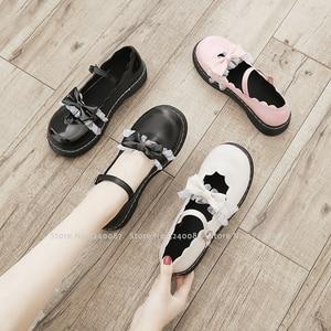 Image 4 - 소녀 일본식 로리타 프린세스 애니메이션 JK 학교 신발 여성 코스 아카데미 카와이 레이스 보우 가죽 싱글 슈즈 코스프레 의상