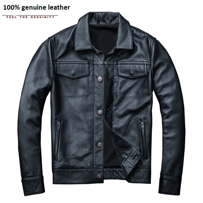 Brand Men's Leather Jacket Man Real Skin Coat 100% Cowhide Black Genuine Leather Jacket Men Winter Coat Autumn M163