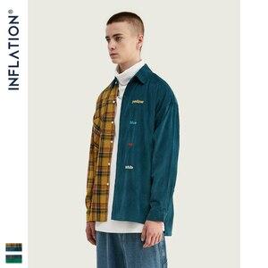 Image 5 - INFLATIE MERK Oversize Plaid Shirt Mannen 2019 FW Streetwear Patchwork Borduurwerk Mannen Shirt Hip Hop Katoen Heren Shirt Tops 92102W