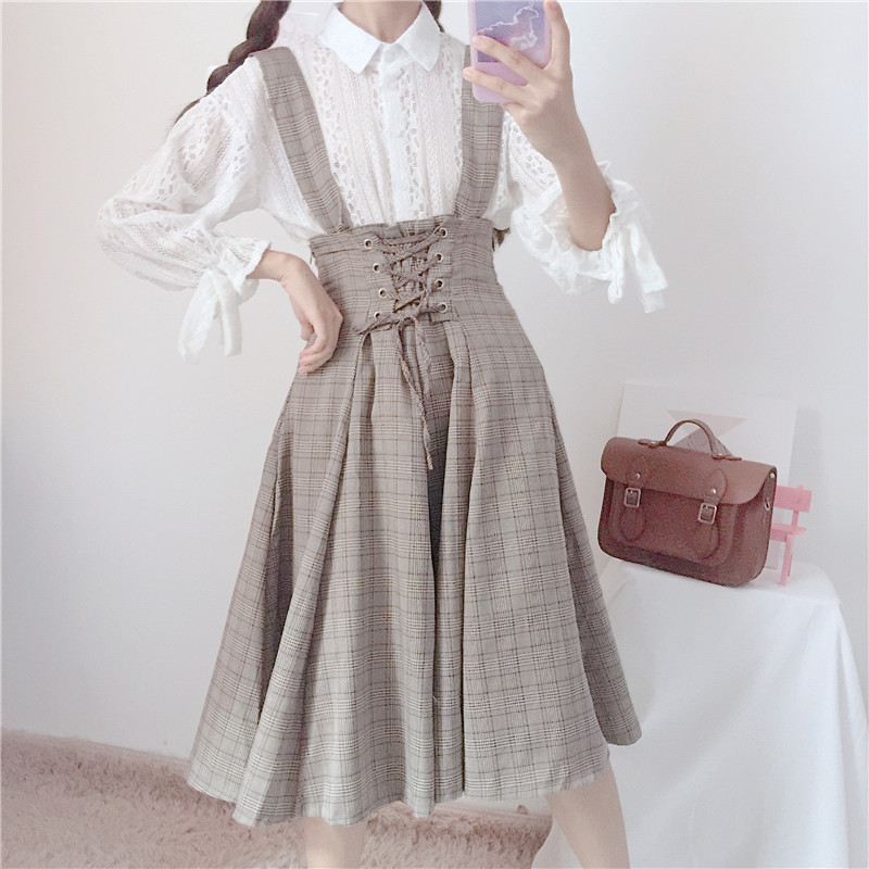 Japanese New Women Cuffs Bowknot Lace Blouse & Teen Girls Student Plaid Tied Medium And Long Section Sweet Skirt College Style