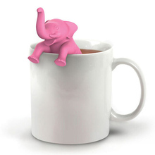 1Pcs Tea Device Pink Cute Elephant Shape Tea Bag Strainers Reusable Tea Strainer Coffee Herb Filter Teaspoon tangpin coffee and tea tool copper tea strainers kung fu tea accessories