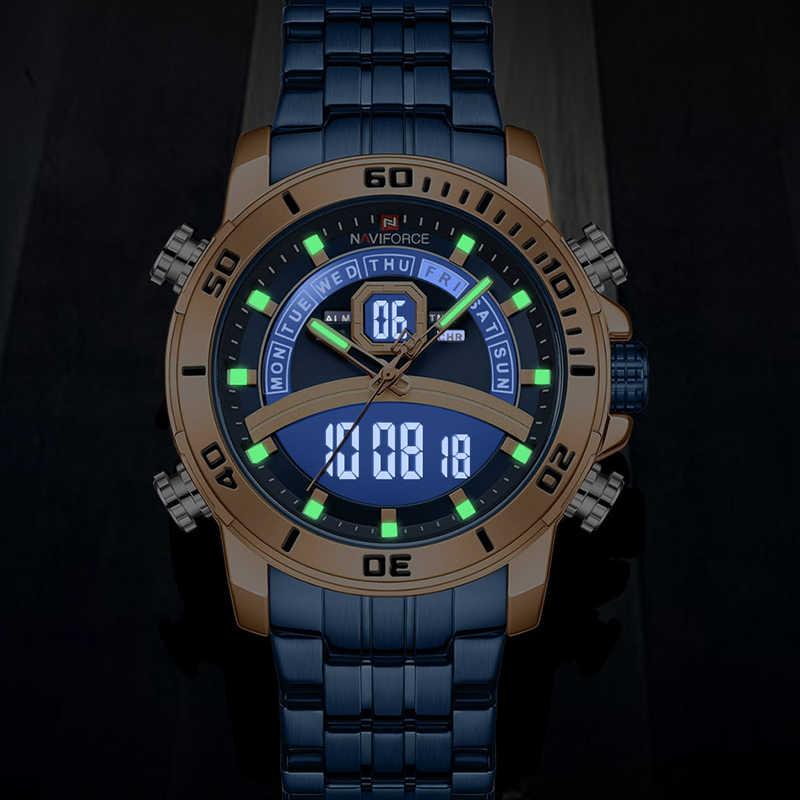 NAVIFORCE hombres Reloj de lujo azul de marca grande relojes deportivos para hombre cronógrafo de cuarzo Reloj de pulsera de acero inoxidable hombre Reloj