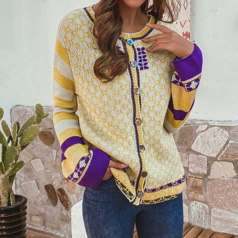ZANZEA Autumn Long Sleeve Sweater Cardigan Women Vintage Floral Knitwear Loose Buttons Down Knit Tops Casual Jumper Pull Femme