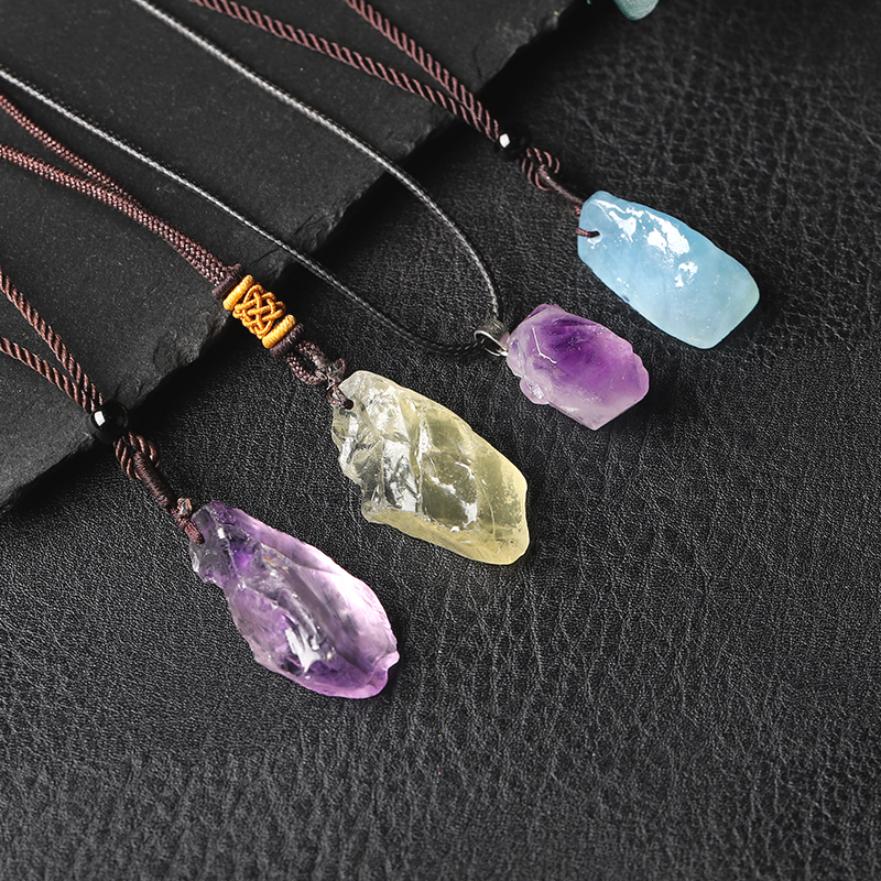 Natural Aquamarine, Healing Stone Pendant, Gem Minerals, Amethyst NecKLACE DIY Gift, Crystal Pendant, Female Jewelry