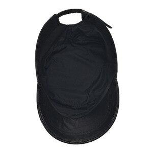 Image 5 - [Aetrends] 黒の羊革野球キャップ男性ブランドフラットキャップお父さん帽子屋外革帽子gorras planas z 5296