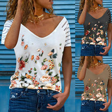 Summer Fashion Women's Casual Short-sleeved V-neck Loose T-shirt Tops Butterfly Print Korean Simple Oversized T-shirt S-5XL