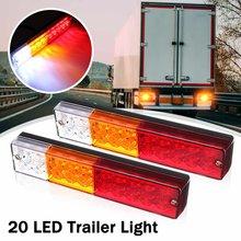 2 pces 12 v 24 v 20 led caminhão reboque luz da cauda luz traseira luzes de freio indicador de sinal lâmpada para carro caminhão ônibus