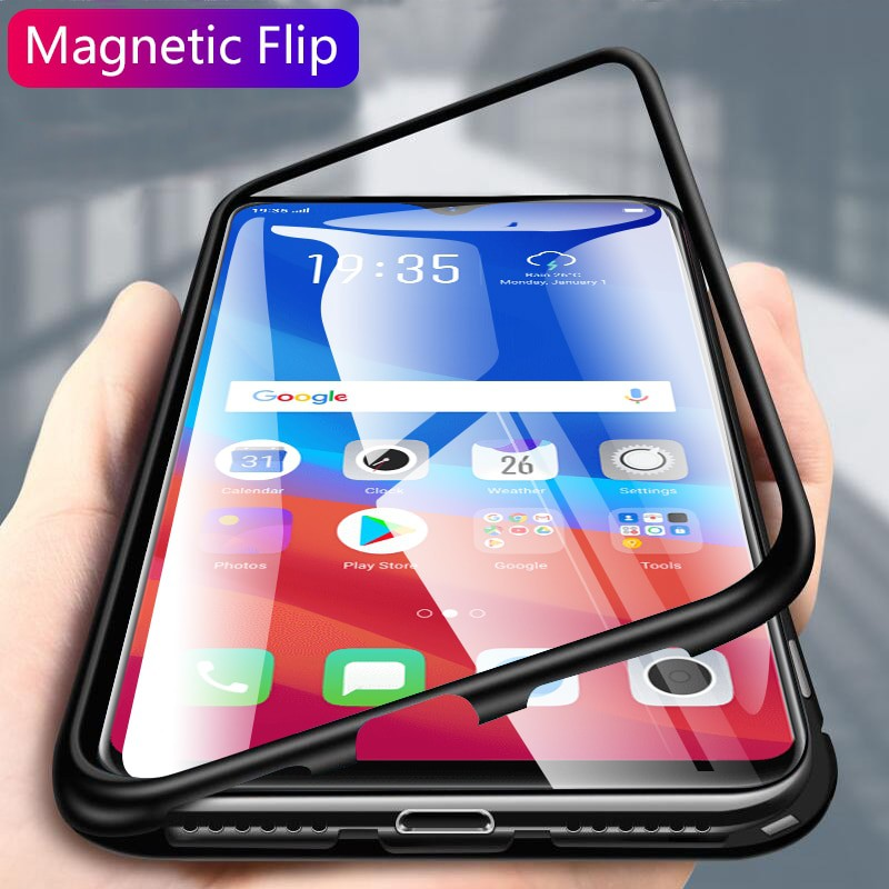 For <font><b>OPPO</b></font> A9 2020 A5 2020 A11X A11 Magnetic Adsorbable <font><b>Phone</b></font> <font><b>Cases</b></font> <font><b>OPPO</b></font> <font><b>A3</b></font> A31 2020 Reno 3 2 Z F Metal Frame Back Glass Cover image