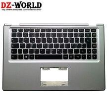 New original Silver Palmrest Upper Case With DE German Backlit Keyboard for Lenovo Yoga 2 13 Yoga2 13 Laptop C Cover 90205151