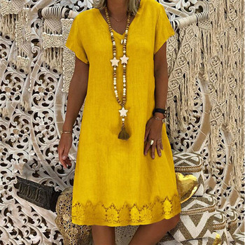 Large size casual women dress 2020 summer Women Dress hem lace print V-neck short sleeve fashion dress new цена 2017