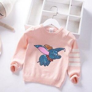 Image 4 - Herbst Winter Kinder Pullover Cartoon Pailletten Pullover Pullover Für Mädchen Weiche Kinder Gestrickte Pullover Baby Mädchen Pullover 3 7 Y