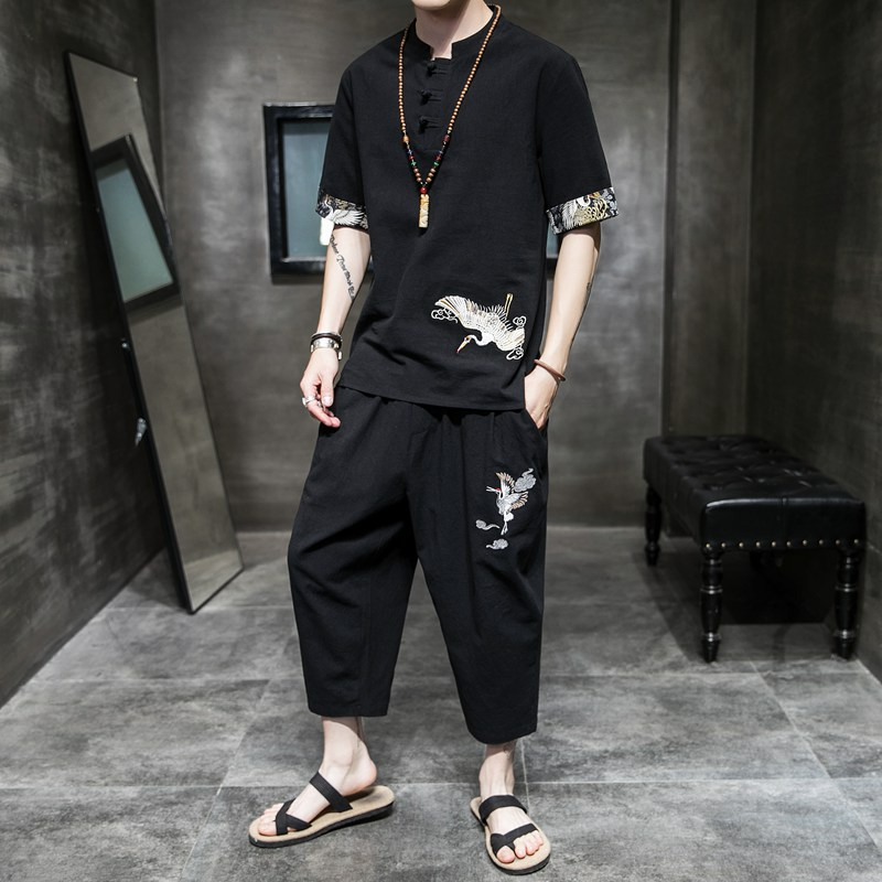 Han Clothing Men's Ancient Clothing Summer Chinese Style Men's Cotton And Linen Suit Tang Clothing Zen Clothing