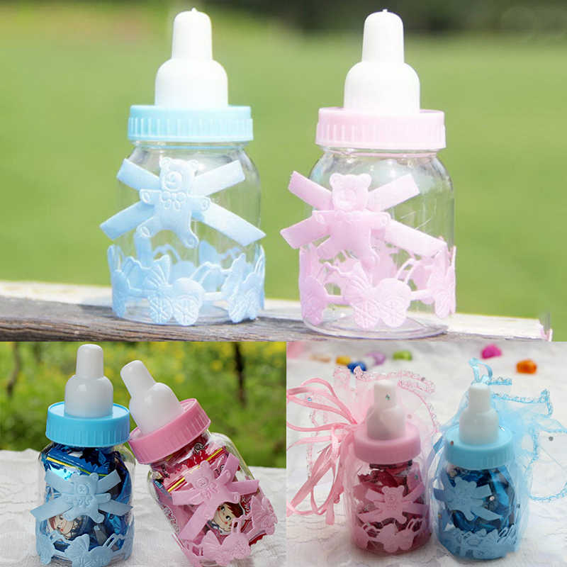 Favors Bottles Fillable Party Decorations Feeder Bottle Candy Box Cute Western Style Blue Pink Transparent Baby Shower Baptism