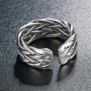 Image 2 - V.YA Große Größe Thai Silber Ring Für Männer Frauen 925 Sterling Silber Ring Weben Form Hochzeitstag Edlen Schmuck
