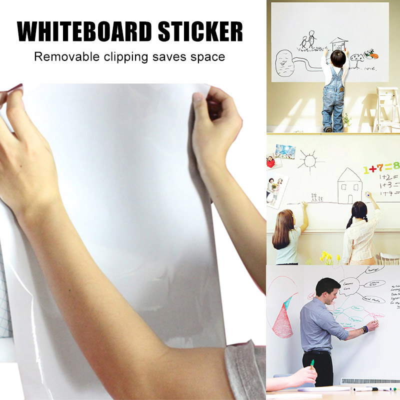 Stickerboard Reusable Roll Up White Board 45cmx200cm Erase Whiteboard Sticker With 3 Pens DJA99