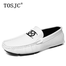 TOSJC Fashion Mens Loafers Handmade Buckle Flat Moccasins Breathable Slip-on Driving Shoes for Man Lightweight Casual Boat