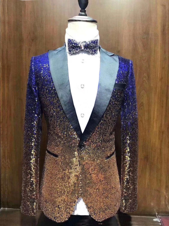 1 Pieces Shiny Sequin Mens Blazer Suit Slim Fit Peak Notch Lapel Tuxedo For Party Wedding Banquet Nightclub Blazer