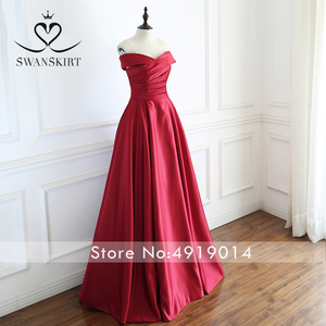 Image 4 - Red Off Shoulder Satin A Line Evening Dress Swanskirt Sweetheart Lace up Court Train Bride gown Princess robe de mariee A233
