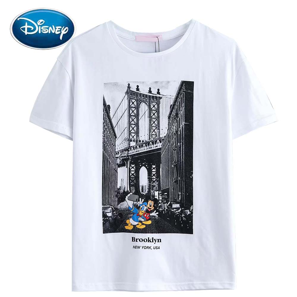 Disney Mickey Mouse Donald Duck Cartoon Letter Print Fashion Women T-Shirt Cotton White O-Neck Pullover Short Sleeve Tee Tops