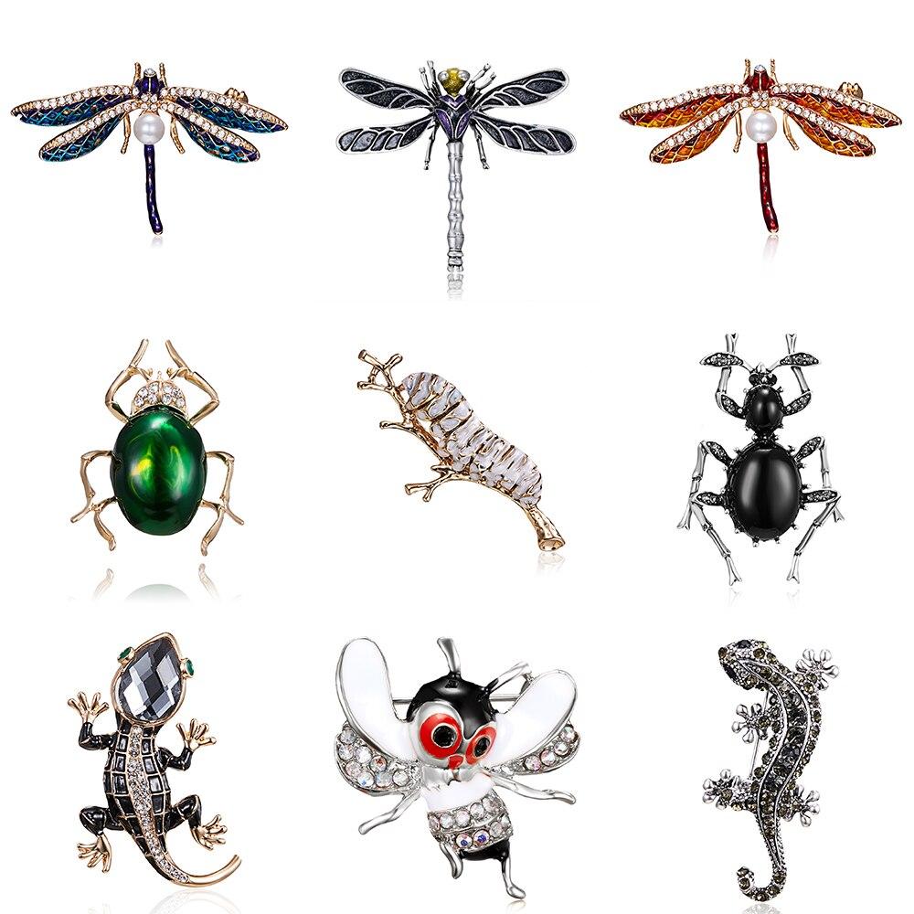 Crystal Lizard broszki dla kobiet Cute Bee Dragonfly Beetle jedwabnik zwierząt szpilki emalia Rhinestone biżuteria akcesoria hurtownie