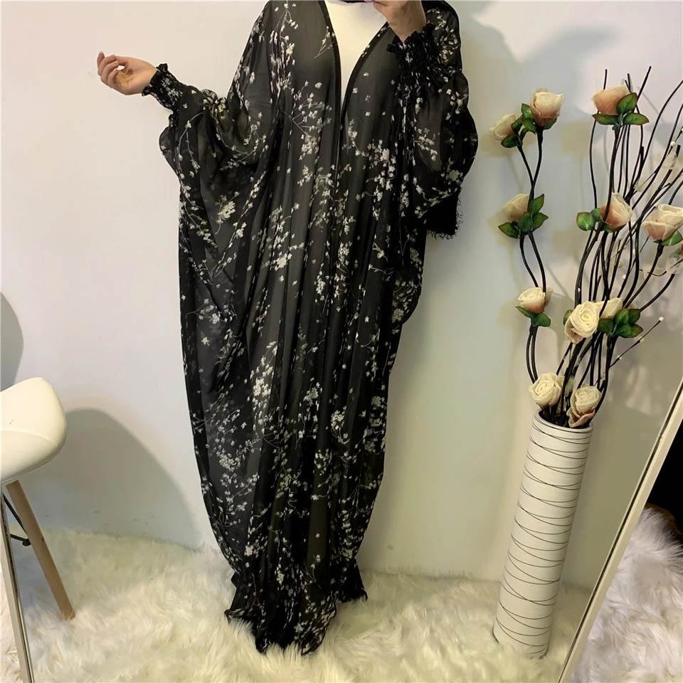 muslim prayer dress women ramadan robe summer soft chiffon print muslim Islamic canftan robes
