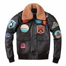 100% Genuine Leather Man A2 Pilot Jacket Tom Cruise Top Gun Air Force