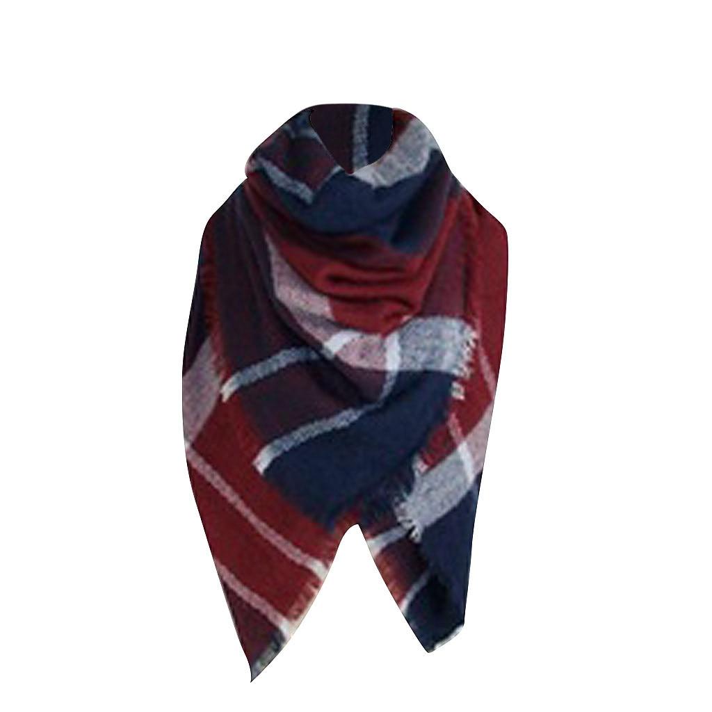 Women Winter Warm Plaid Ring   Scarf   Neck Warmer   Wrap   Collar Cashmere   Scarves   warm neck Blanket lady luxury   Scarf   2019 #YL5