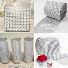 1 Roll 8/24 Rows Gold Silver Crystal Diamond Mesh Rhinestone Ribbon for Birthday Wedding DIY Decoration Cake Wrap Crystal Tulle(China)