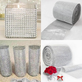 1 Roll 8/24 Rows Gold Silver Crystal Diamond Mesh Rhinestone Ribbon for Birthday Wedding DIY Decoration Cake Wrap Tulle - discount item  18% OFF Arts,Crafts & Sewing